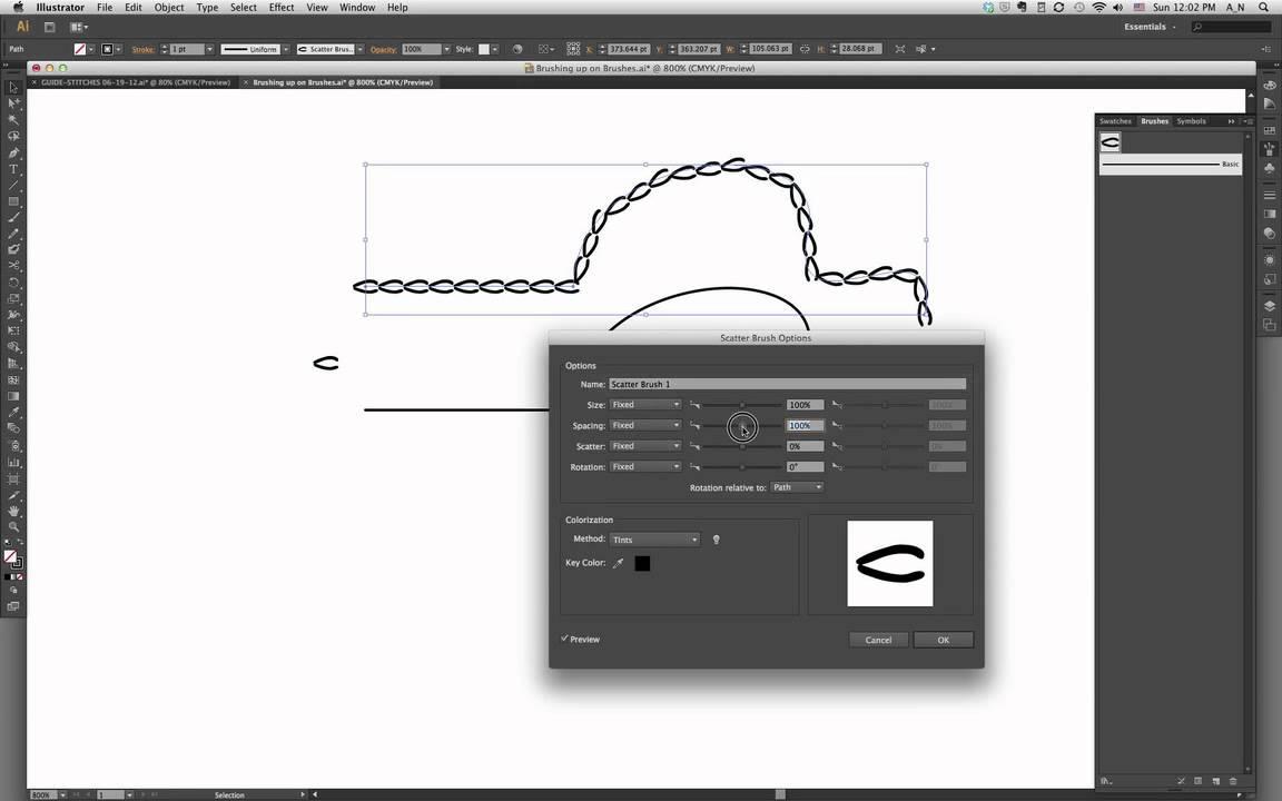 Creating a stitch brush in Illustrator