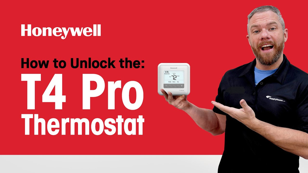 How To Unlock The Honeywell T4 Pro Thermostat Youtube Hgf And Remote