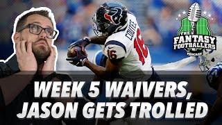 Fantasy Football 2018 - Week 5 Waivers & QB Streamers, Jason Gets Trolled - Ep. #619