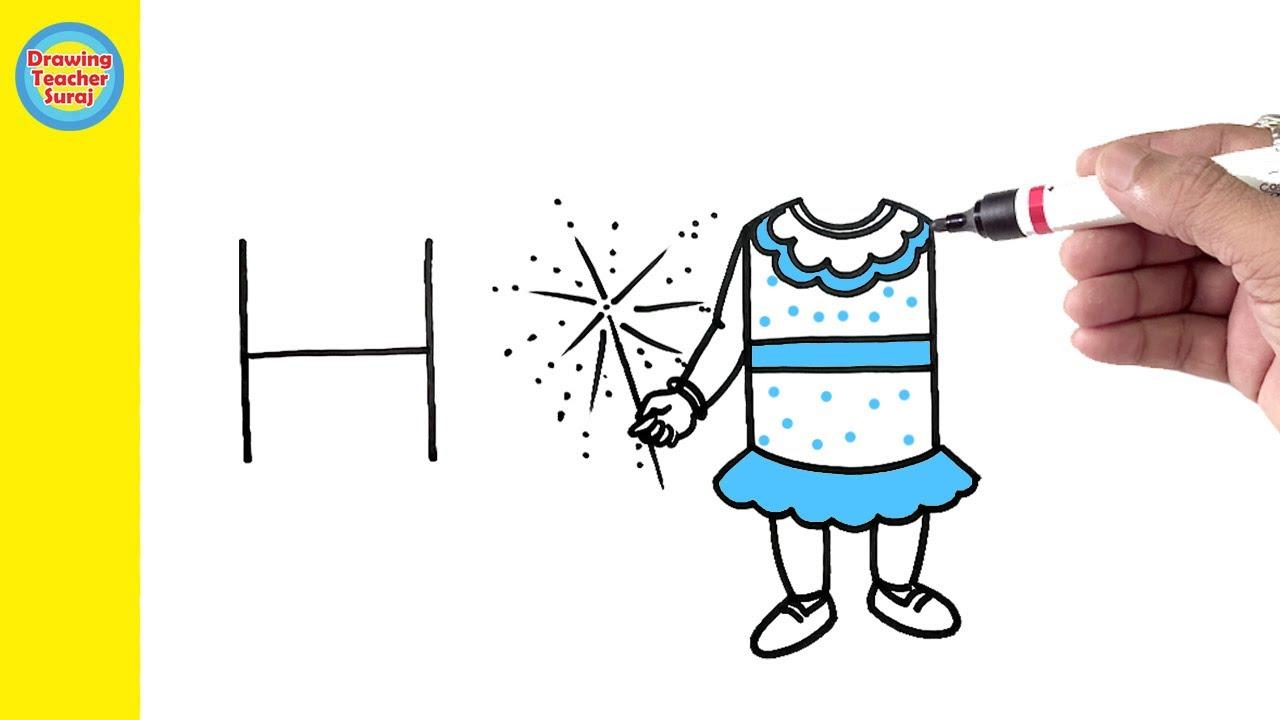 H फुलझड़ी जलाती लड़की का Drawing - Diwali Special Drawing