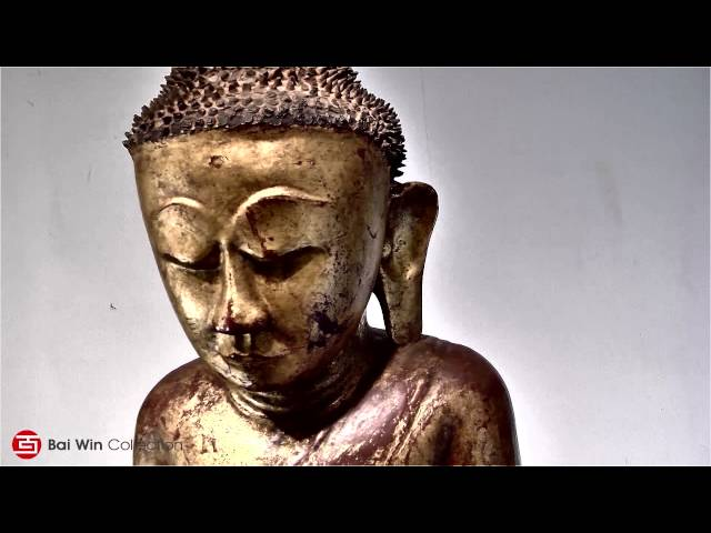 Geniune  Burmese teak Buddha on pedestal throne