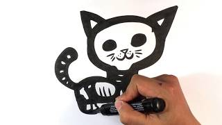 How to Draw a Kitty - Skeleton Version - Halloween Drawings