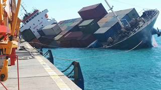 Capsized Container ship SL Star video  with some updated pics