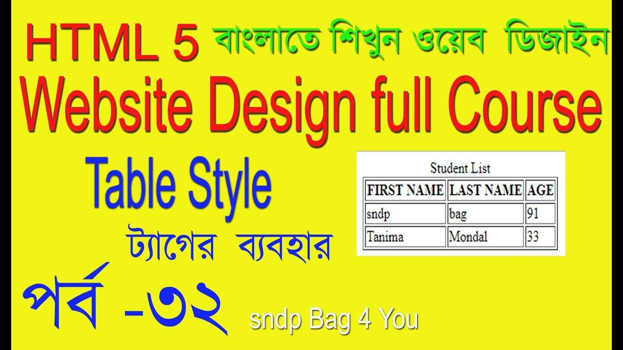 HTML TUTORIAL FOR BEGINNER HTML BANGLA TABLE STYLE