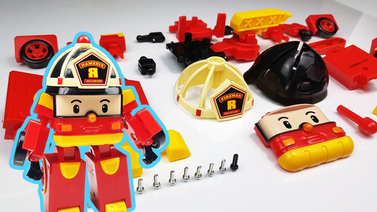 Robocar roy Toy Assembly Build Fire engine Toys and Transform Robot