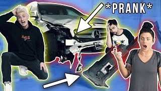 CRASHED MY GIRLFRIENDS CAR PRANK! *Gone Wrong*