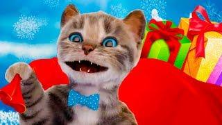 Приключение маленького котенка в школе животных. Новогодний класс с елкой и гирляндами. Новые языки
