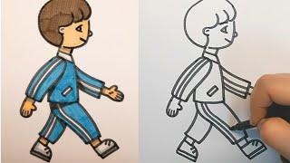 걷고 있는 사람 그림 쉽게 그리기(어린이, 그림 일기,…