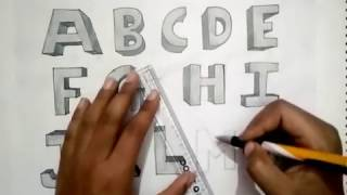 How to draw Alphabets (A-Z) in One Point Perspective #2 Part01