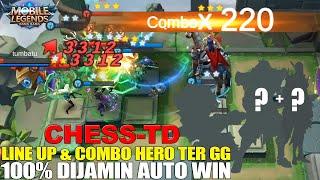 WAJIB DI COBA! LINE UP & COMBO HERO CHESS-TD INI! HERO MUSUH AUTO GAK BISA GERAK! MOBILE LEGENDS