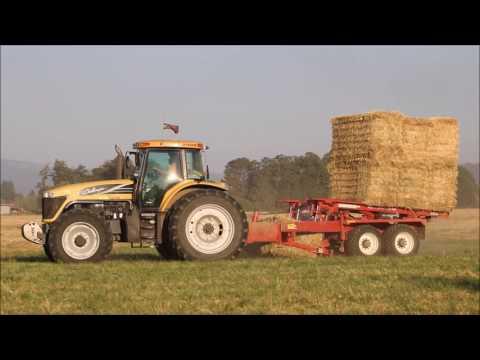 Raking, baling, & stacking fescue straw in Oregon's Willamette Valley (07-18-17)
