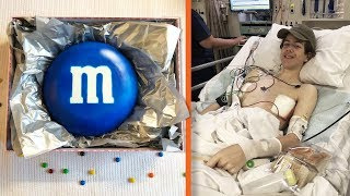giant M&M in hospital
