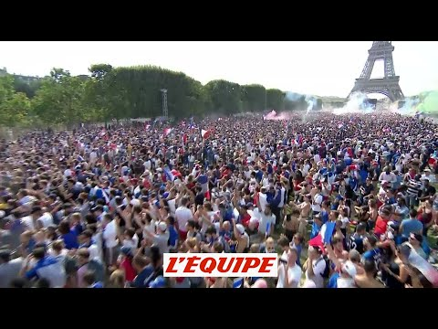 La joie des supporters à Paris sur le but de Griezmann - Foot - CM 2018 - Bleus