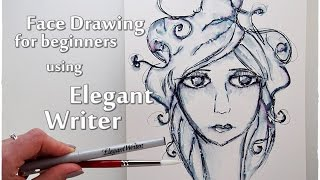How to Draw a Face with Elegant Writer Technique for Beginners ♡ Maremi