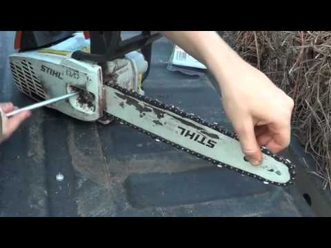 How to put a chain on a stihl ms 192 tc chainsaw youtube how to put a chain on a stihl ms 192 tc chainsaw greentooth Choice Image