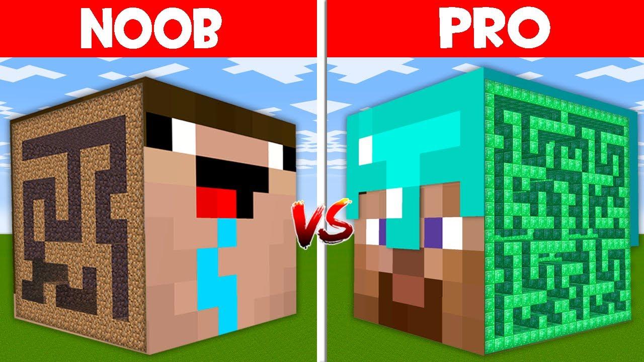Minecraft NOOB vs PRO: HEAD BLOCK MAZE BATTLE! NOOB MAZE vs PRO MAZE! (Animation)