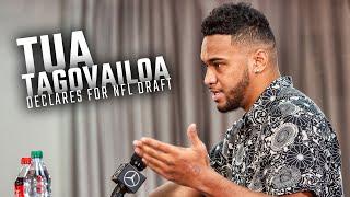 Watch as Alabama quarterback Tua Tagovailoa declares for the NFL Draft