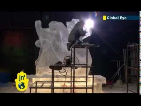 International ice sculpture at Harbin festival: 11 countries compete in Chinese ice art contest