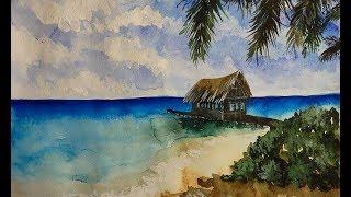 Как научиться рисовать: УРОК 9. Море, пляж, пальмы акварелью