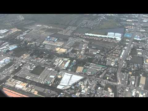 Aerial footage of Istanbul city and industrial installations in Turkey