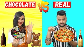 Real vs Chocolate FOOD Challenge