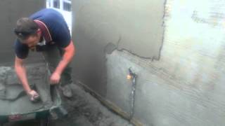 sand and cement work on exterior wall- part 2