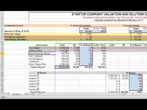 Startup Valuation and Dilution Calculator