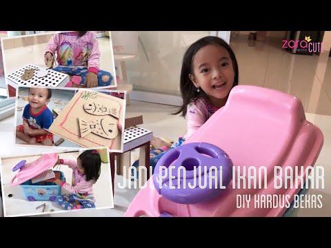 Zara dan Kenzo jadi Penjual Ikan Bakar | Lets Play with Cardboard and Toys Container Car