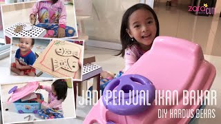 Zara dan Kenzo jadi Penjual Ikan Bakar | Lets Play with Cardboard and Toys Container Car