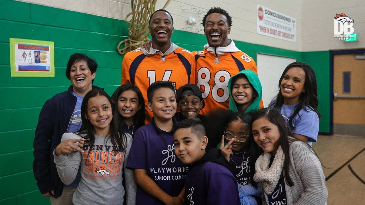 Demaryius Thomas and Courtland Sutton team up for special recess experience
