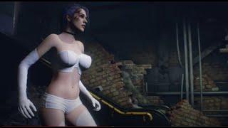 Resident Evil 3 Jill Valentine Gameplay Vixen White Latex Version - Scar Face Evangelion Rei Look