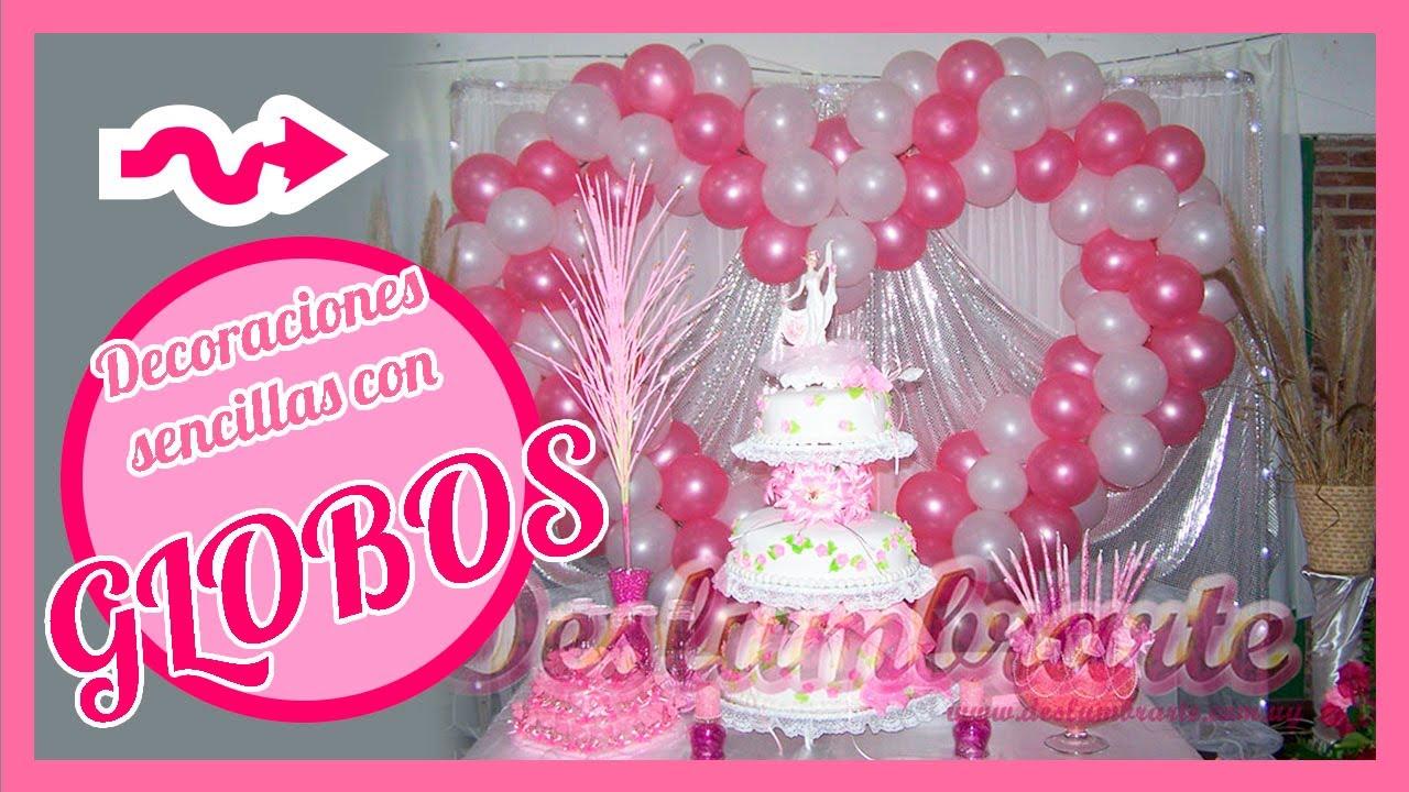 Decoraciones sencillas con globos deslumbrarte youtube for Decoracion para pared con globos