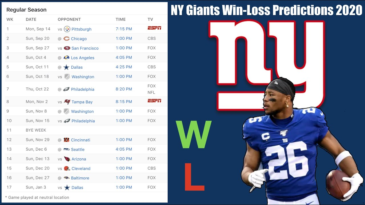 NY Giants Win-Loss Predictions for 2020