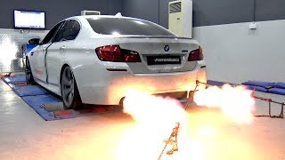 BMW M5 F10 BY PP-PERFORMANCE SPITTING HUGE FLAMES ON THE DYNO!