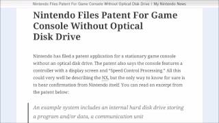 OBA Discussion: Nintendo Files A Patent For A Console With No Optical Disc Drive?
