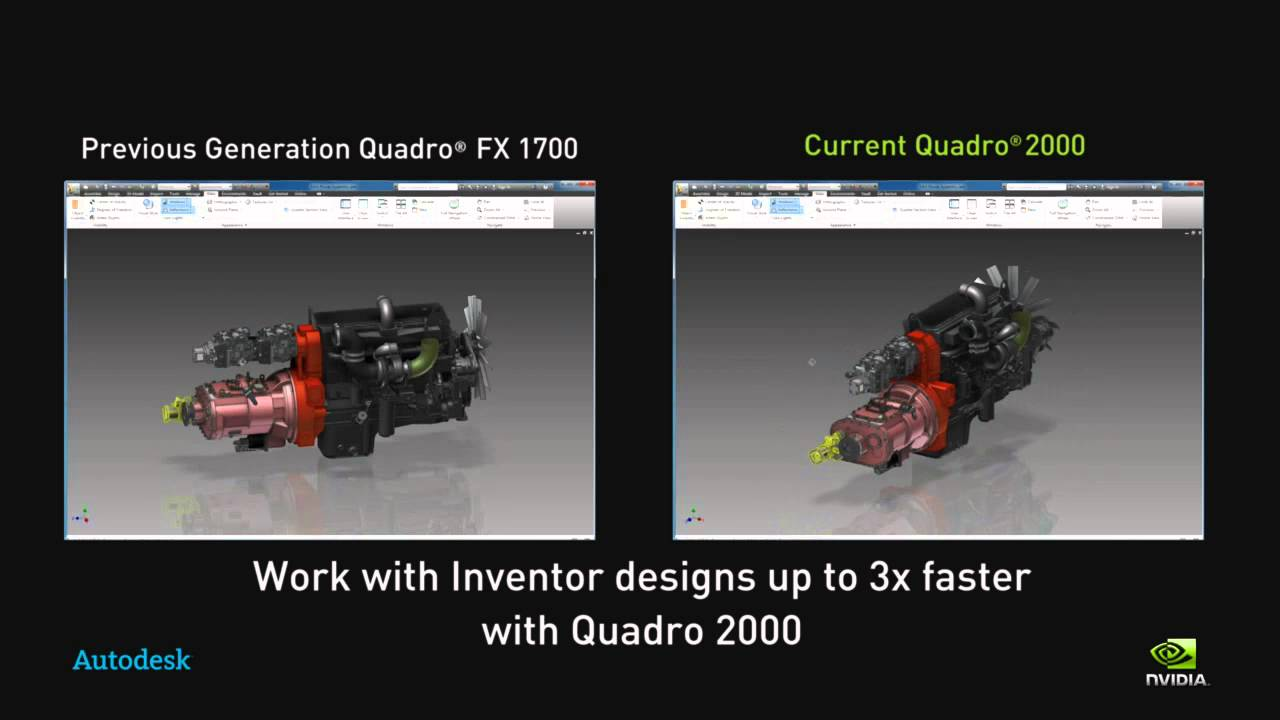 NVIDIA Side by side comparison with Autodesk Inventor