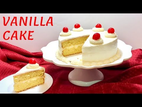 Easy Vanilla Cake With Vanilla Buttercream Frosting (Butter Cake)