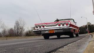 Take a Test Drive in our '63 Impala SS409 425HP Dual Quad Convertible with driving sounds