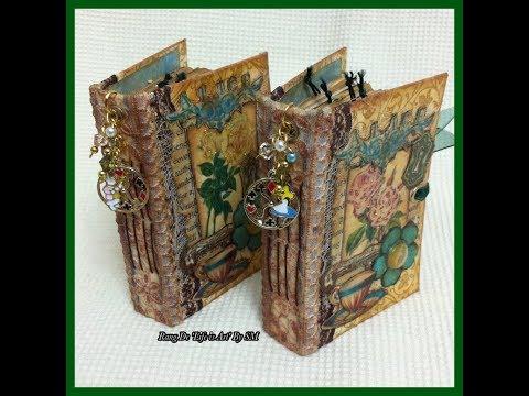 Vintage Alice in Wonderland micro/mini junk journals flip through (JJ)
