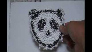 【3D art】Drawing a panda on EPS beads-発泡ビーズに絵を描いてみた(パンダ編)
