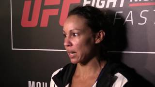 Post Fight Media Scrum with Marion Reneau at UFC Belfast