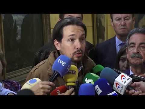 PABLO IGLESIAS (Podemos) - Declaraciones tras INDEPENDENCIA y 155 en CATALUÑA (27/10/2017)