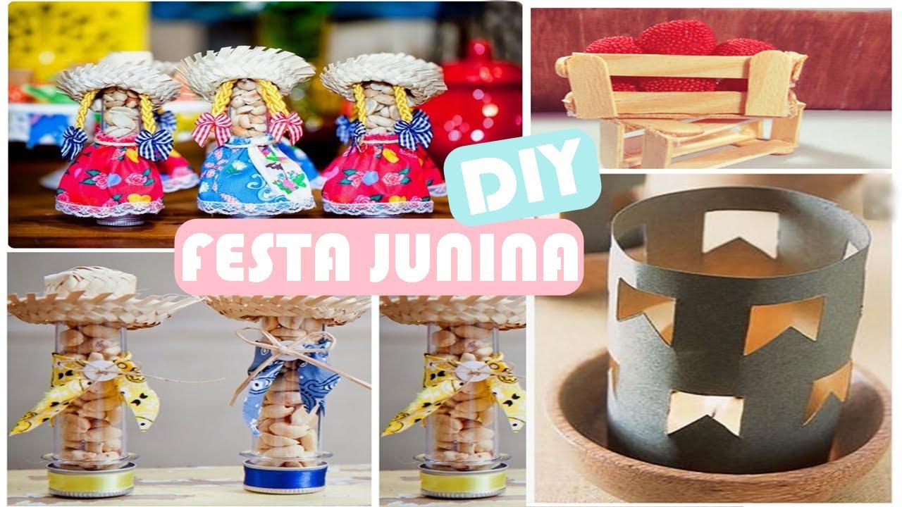 15 IDEIAS DE DECORA u00c7ÃO PARA FESTA JUNINA #DIYFestaJunina YouTube -> Decoração De Festa Junina Para Escola