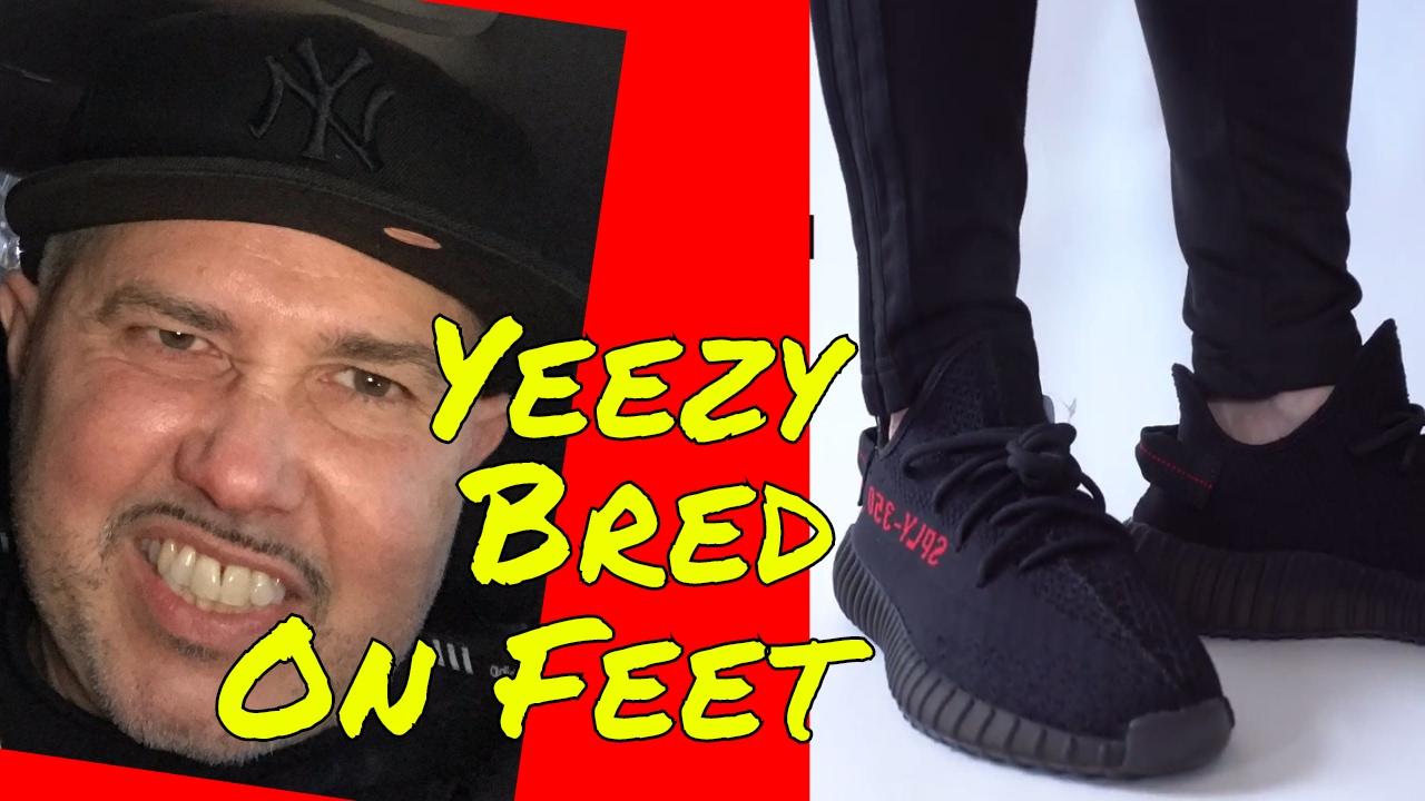bc16d6b0e Yeezy 350 V2 Core Black Red Bred on Feet - YouTube