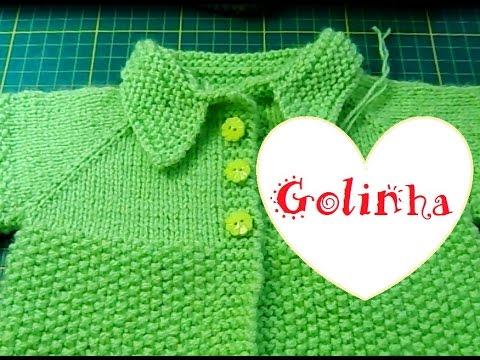 Golinha de trico para casaquinho de bebê - YouTube 0ee6b1ba2ab