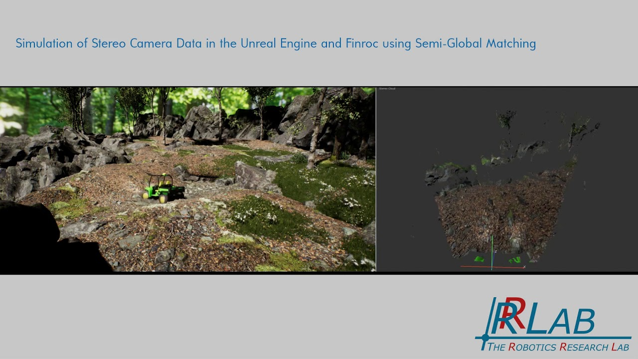 Simulation of Stereo Camera Data in the Unreal Engine and Finroc using  Semi-Global Matching