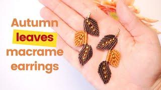 Details about  /Macrame Leaf Earrings