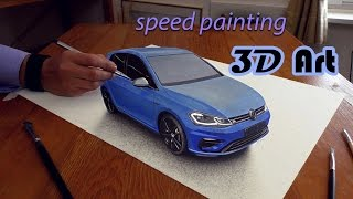 VW Golf speed drawing in 3D/ how to paint a car