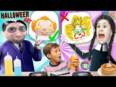 HALLOWEEN PANCAKE ART Challenge: Addams Family & Pennywise (FV Family Challenge)