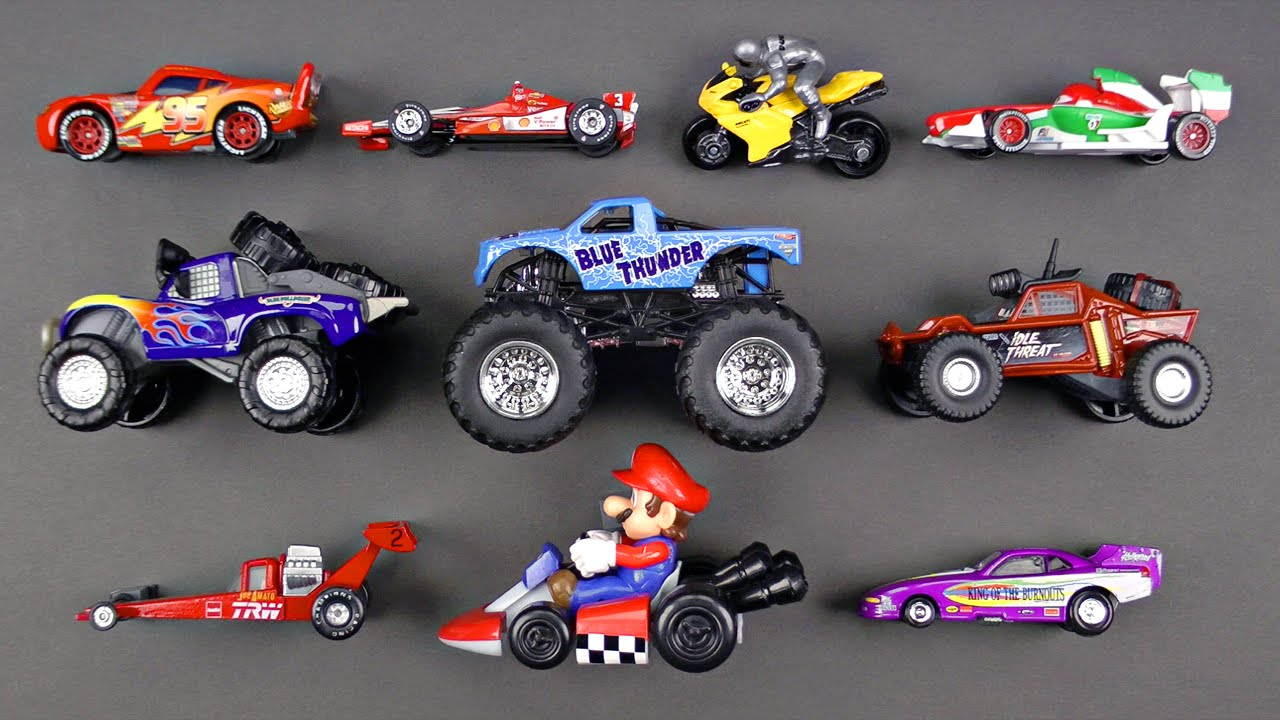Learning Sports Vehicles For Kids With Disney Cars Trucks Hot Wheels Matchbox Tomica トミカ Mario Youtube